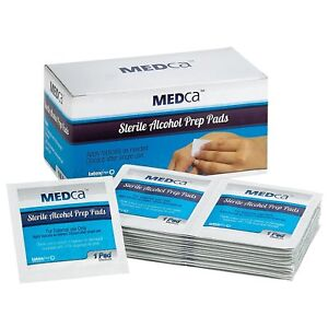 MEDca Alcohol Prep Pads Sterile Medium 2 Ply Best for Sensitive Skin - 100 Pack