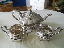 Finest Birks Regency Plate Melon 3 Piece Tea Set