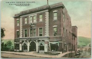 1913 FAYETTEVILLE, Arkansas Postcard OZARK OPERA HOUSE Hand-Colored FRED HARVEY