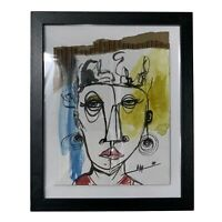 PAINTING ORIGINAL WATERCOLOR ON CARDBOARD (FRAME INCLUDED) CUBAN ART By LISA.