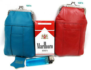 2pc in 2Color Leather Cigarette Soft Case TURQUOISE 100s+120s Blk Brown Pink Red