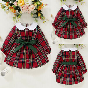Toddler Baby Girls Dress Kids Christmas Party Plaid Tartan Bow Princess Skirts
