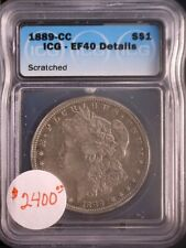 1889-CC $ Morgan Silver Dollar, ICG, EF-40, Details, Scratches, SALE, BM