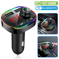 Wireless Bluetooth 5.0 Car FM Transmitter MP3 Handsfree Adapter Dual USB Charger