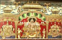 Tanjore Painting South INDIA GOLD Gems Ganesha Lakshmi Saraswati Goddess Antique