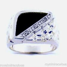 Mens Diamond Ring Onyx 14K  White Gold Band