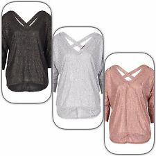 Cross Back METALLIC Oversized Knit Top in Rose Pink, SIlver or Black SIZES 8-14