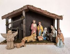 More details for vintage nativity set wood stable w/10 pottery figurines bought in france 80/90s