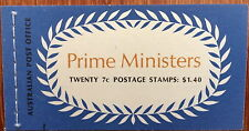 Australia Post Prime Ministers Booklet $1.40 20 x 7c Fisher, Cook, Hughes, Bruce