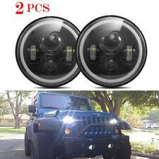 2pcs 7Inch Round Beam Halo Angle Eye Headlights Hi/Low For JEEP JK TJ LJ Wrangle
