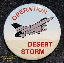 LMH Pin Button Brooch  1991 DESERT STORM  Operation Gulf War Shield  FIGHTER JET