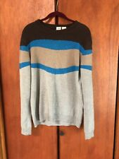 Armani Exchange color block Cotton Striped Knit Sweater gray and blue size L