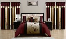 7-Piece Burgundy Brown Taupe Embroidered Floral Comforter or 4-Piece Curtain Set