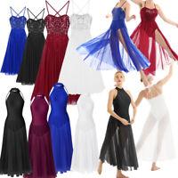 Women Sequined Lyrical Dress Contemporary Ballet Dance Costume Leotard Unitards
