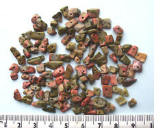 20g of unakite gem chips - drilled tumblechip beads for jewellery and crafts