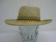 Vintage Mens Straw Fishing Gardening Summer Hat w/Multi-Colored Band