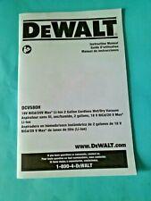 Dewalt Instruction Manual DCV580H 2 Gallon Cordless Wet Dry Vacuum MANUAL ONLY