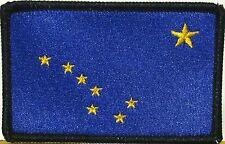 ALASKA STATE Flag Patch with VELCRO® BRAND fastener Version Black Border #3