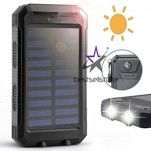 2020 Waterproof Solar Power Bank 2000000mAh Portable External Battery Charger US