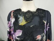 D&G Dolce & Gabbana Black Silk Floral printed Pencil  Dress Size 44 Lace
