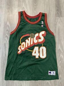 VTG 90s Champion Seattle Supersonics Shawn Kemp #40 NBA Basketball Jersey 48