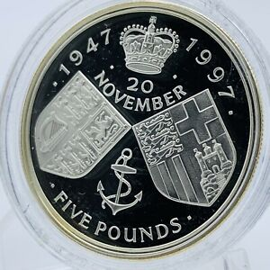 1997 Royal Mint Silver Proof £5 Coin - Queen & Prince Philip Golden Wedding