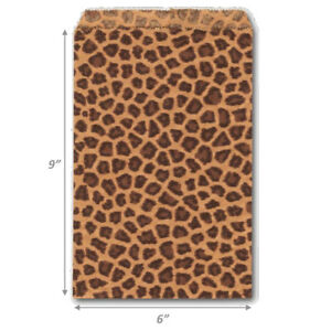 100Pc Paper Leopard Bags Flat Bottom Jewelry Bags Kraft Flat Gift Bags Jewelry