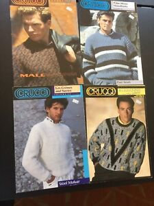 22 Crucci Knitting Patterns Handknits Men's Male Sweaters 4- Books