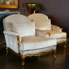 French Louis XV oversized Arm Chairs in antiqued gold leaf white velvet