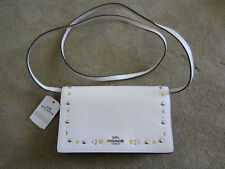 NWT Coach Foldover Crossbody Clutch With Floral Tooling Chalk F26007 $195