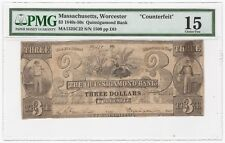 1840s-50s Quinsigamond Bank Worcester, MA $3 Obsolete Bank Note - PMG FINE 15