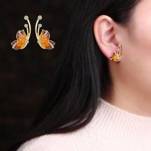Fashion Butterfly Wing Oil Crystal Pearl Ear Stud Earrings Women Jewelry Gift