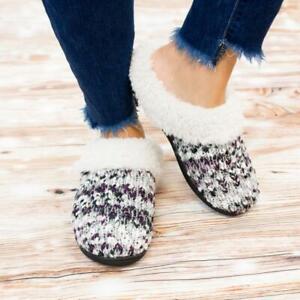 🔥Heather Medium 7.5- 8 Isotoner Women's Sweater Knit Amanda Clog Slippers