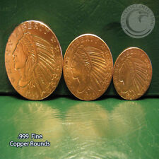 """3 Different Sizes of """"Incuse Indian"""" .999 Fine Copper Rounds READ"""