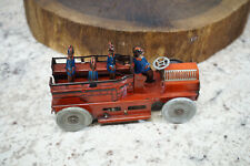 Antique Scarce Orobr Tin Wind Up Fire Truck w/ Men  Germany - Working