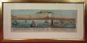 CITY OF BARCELONA. ENRICHED ENGRAVING. UNSIGNED. SPAIN (?). 17TH-18TH CENTURY