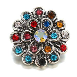 10pcs/Set Rainbow Crystal Flower Charm Snap Button Fit 18mm Snap Jewelry