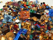 Mixed Lot of Vintage Glass Loose Rhinestones & Cabochons Gr8 for Jewelry Repair!