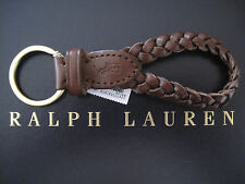 NEW RALPH LAUREN Polo Brown Leather Braided FOB Key Chain Keychain Keyring