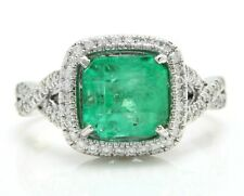 3.00 Ct Natural Colombian Emerald and Diamonds 14K Solid White Gold Women's Ring