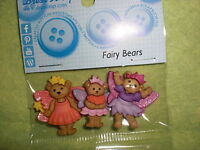 Prepackaged FAIRY BEARS Novelty Theme Buttons - Dress It  Up - All Crafts