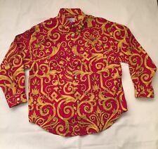 Rare Vintage 90s Gianni Versace Boys' Baroque Red Gold Shirt Size 8