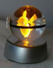 Glass Crystal Pikachu Pokemon Ball NightLight Bedroom Table Top 3D LED lite lamp