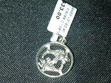Sterling Silver Pisces circle pendant charm or pendant New