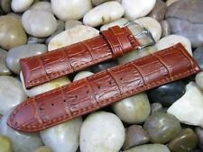 24 mm Hirsch Duke Gold Brown Tan Alligator Embossed Leather Watch Band! strap