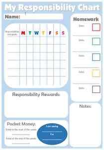 reward charts for teenage/older children responsibility homework pocket money