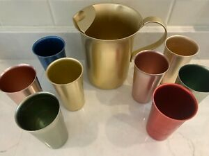 Vintage Midcentury Gold Aluminum Pitcher, 8 Drinking Cups, Red, Blue, Pink, Gold
