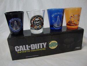CALL of DUTY INFINITE WARFARE 4 Pack Shot Glasses Nerd Block Exclusive Glass Set