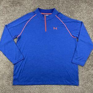 Under Armour Heat Gear Loose 1/4 Zip Running Pullover Jacket Blue Orange 3XL