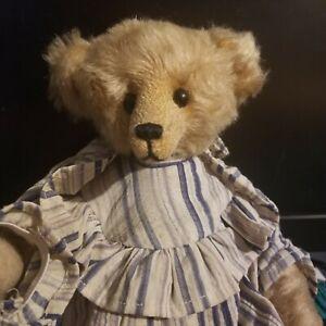 """STEVE SCHUTT FULLY JOINTED MOHAIR BEAR 10"""" MISS AMANDA W/ DRESS NO RESERVE"""